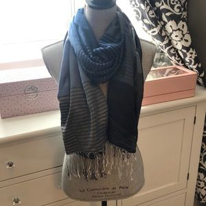 100% Silk Scarf Navy and Grey